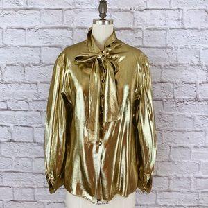 St John Metallic Gold Blouse